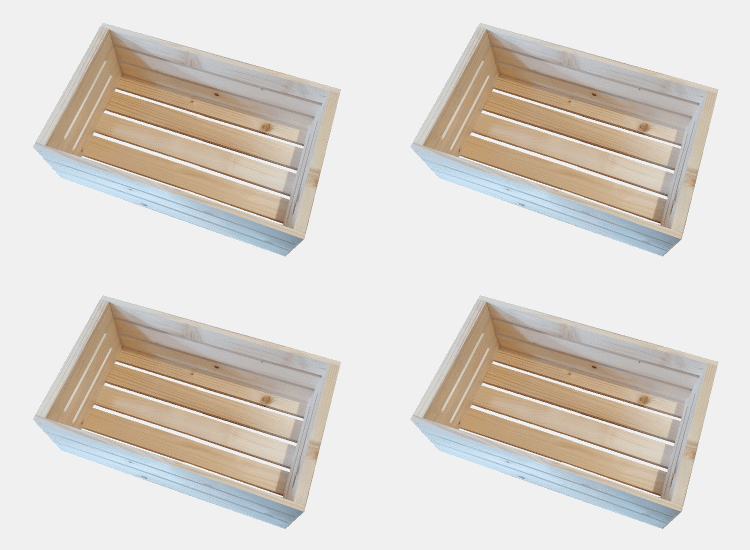 Dřevěná bedýnka 50 x 30 x 18 cm - 4ks (Eva)
