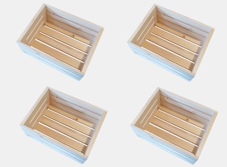 Dřevěná bedýnka 40 x 30 x 18 cm - 4ks (Marie)