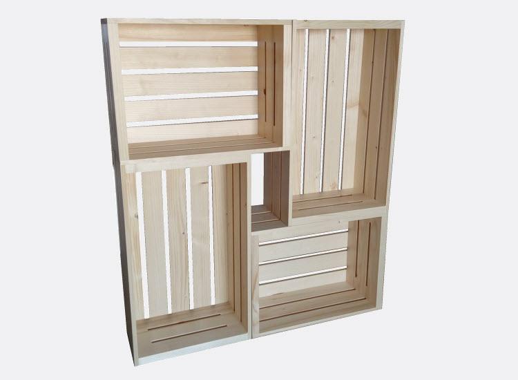 Regál z dřevěných bedýnek 80 x 70 x 18 cm