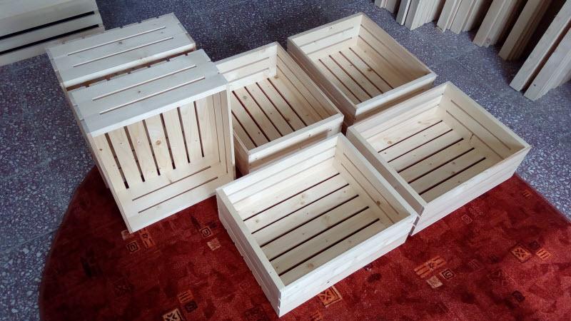 Dřevěné bedýnky 55 x 40 x (výška) 18 cm